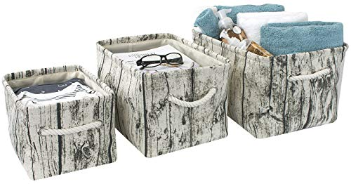 (Sorbus Tree Stump Basket Bin Storage Set, Rustic Rectangular Fabric Storage Bin Organizer Baskets with Portable Rope Handles for Nursery, Kids, Toys, Linens, Clothes, etc (Tree Bin - Set of 3) )