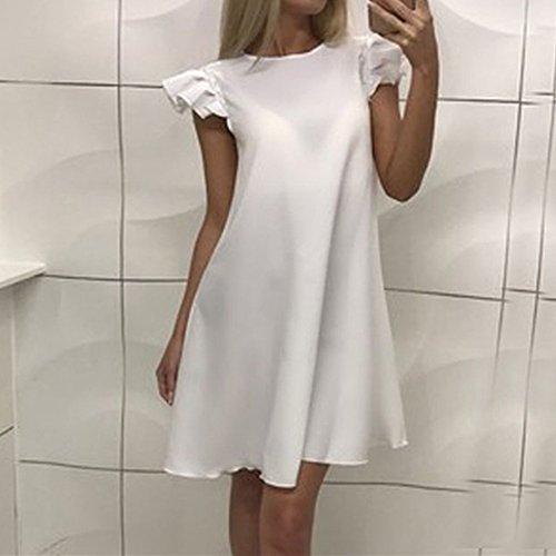 pour Casual Cocktail Courtes Robe Dihope Dress Femme Midi Manches Soire Blanc Patineuse qB7W18Fw