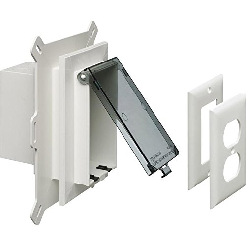 Arlington DBVS1C-1 Low Profile IN BOX Recessed Outlet Box Wall Plate Kit for New Vinyl Siding Construction, Vertical, 1-Gang, ()