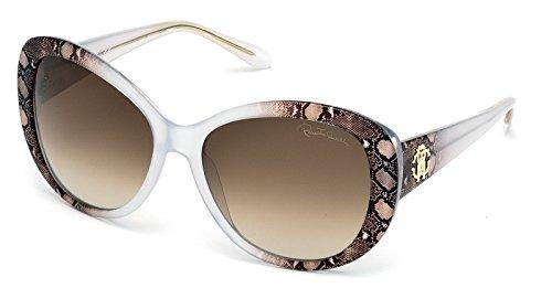 Roberto Cavalli Womens Sunglasses Large Clear Snakeskin Frame Temoe RC727S - Sunglass Cavalli