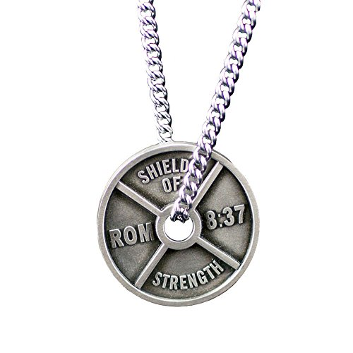 Men's Antique Finish High Relief Weight Plate Necklace-Romans 8:41 ()
