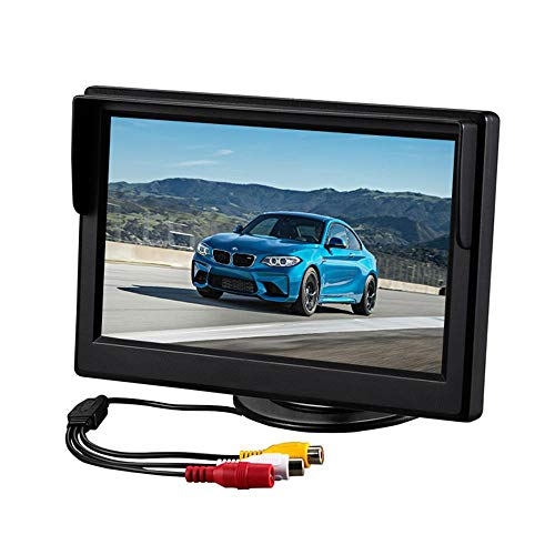 Moshbu LED Digital Car Rear View Monitor Screen, Universal 5 Inch TFT LCD AV Backlight Car Color Display Vehicle Rear View Backup Camera Security System with Bracket for Parking Car Safety