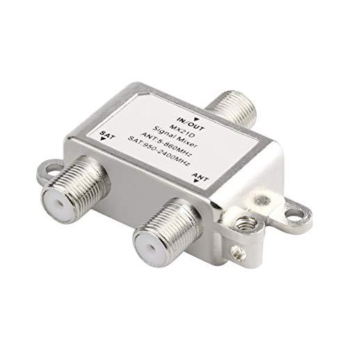 (2 Ways Satellite Splitter TV Signal Cable TV Signal Mixer SAT/ANT Diplexer)