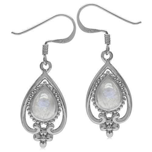 (8x6MM Natural Pear Shape Moonstone 925 Sterling Silver Victorian Style Flower Drop Dangle Earrings)