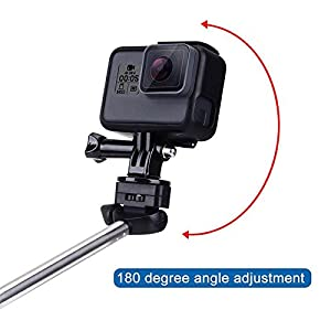 VVHOOY Extendable Aluminum Alloy Handheld Selfie Stick Monopod Tripod Holder for 1080P 4K Waterproof Sports Action Camera