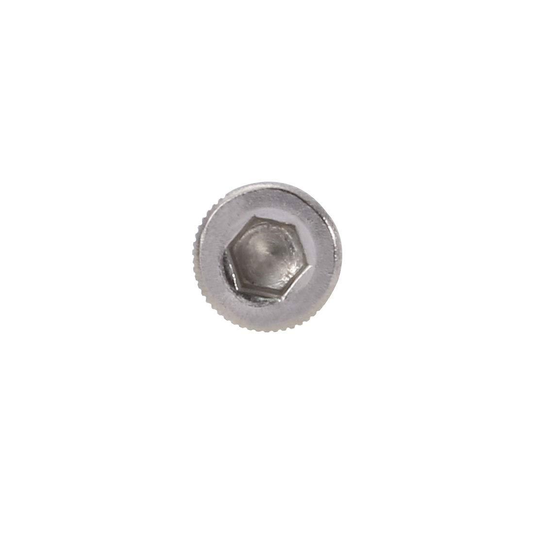 sourcing map 10PCS M4x60mm acier inox 304 vis t/ête molet/ée /écrou boulon avec rondelle