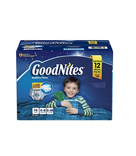 GoodNites Bedtime Underwear for Boys (Size S/M, 74 ct.)