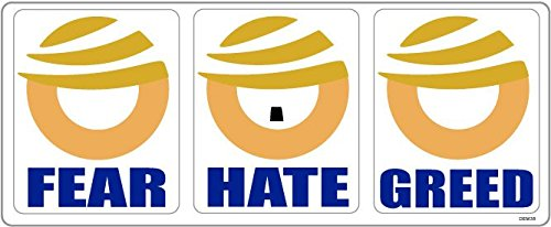 "Set of 3 x BUMPER STICKERS: Anti Donald Trump. 3.5"" x 2.75"" each decal size"