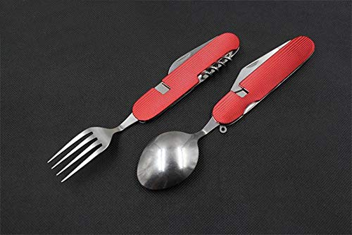 QTKJ Reusable Multi-Function Stainless Steel Silverware Set, Aluminum Handle Hiking Removable Dinner Forks and Spoons(Red) by QTKJ (Image #7)