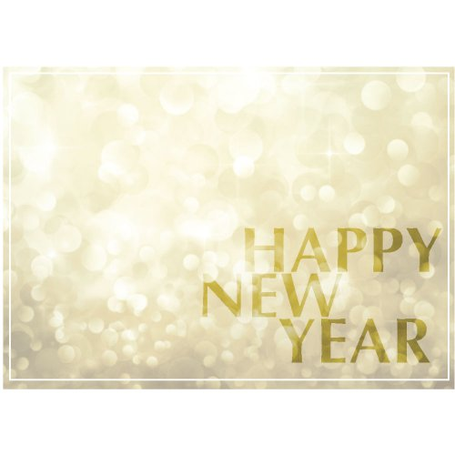 New Year Greeting Card N1203. Celebrate 2018. Equally appropriate for business or personal use. Gold foil-lined envelopes included.