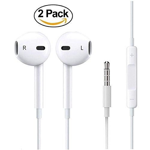 Premium Earphones/Earbuds/Headphones 2-PACK with Stereo Mic&
