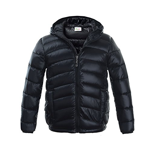 M2C Boys & Girls Ultralight Hooded Duck Down Puffer Packable Jacket 7T Black