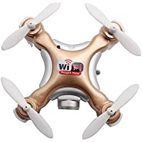 Chinatera Mini RC Quadcopter Wifi FPV With High Hold Mode Camera Pocket Drone Toy Golden