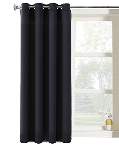 Balichun 1 Panel Darkening Thermal Insulated Solid Grommet 52 By 63 Inch Blackout Curtain, Jet Black