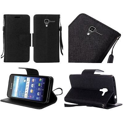 For Kyocera Hydro View PU Leather Flip Wallet Credit Card - Black -  EpicDealz