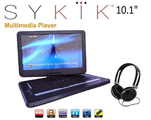 Sykik SYDVD0116 10.1'' Inch All multi region zone free HD swivel portable DVD player, USB, SD card slot with headphones, AC Adaptor , Car Adaptor, Remote Control (one year waranty) Black