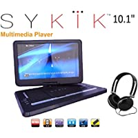 Sykik SYDVD0116 10.1 Inch All multi region zone free HD swivel portable DVD player, USB, SD card slot with headphones, AC Adaptor , Car Adaptor, Remote Control (one year waranty) Black
