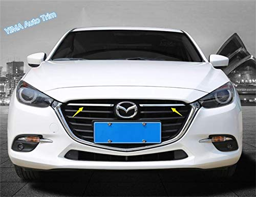 - Exterior Parts For Mazda 3 Axela Hatchback Sedan 2017 2018 Abs Bright Style Front Grille Grill Decor Strip Cover Trim 2 Pcs