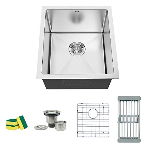 TORVA 15 Inch Undermount Kitchen Sink, 16 Gauge Stainless Steel Wet Bar or Prep Sinks Single Bowl, Fits 18