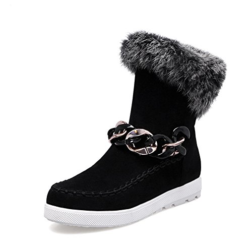 Frosted Ornament BalaMasa Collar Black Ladies Fur Platform Boots Metal Yq6xw6BT