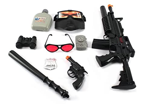 SWAT Super Police Force M16 Friction Toy Gun Combo Play Set w/ Friction Toy Gun, Toy Pistol, Police Badge, Glasses, Mask, Baton, Camera, Canteen, (Canteen Combo)