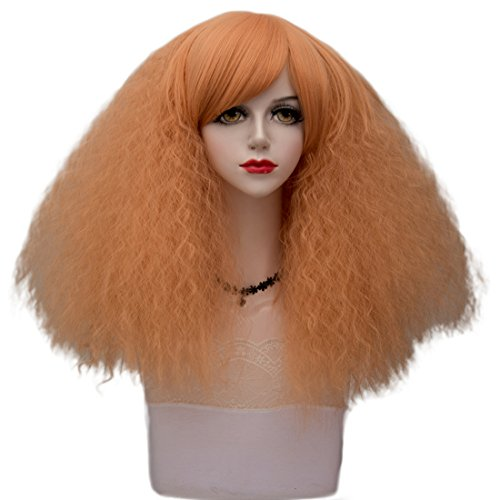 Milkshake Orange Medium 18 Inches Fluffy Curly Heat Resistant Cosplay Wig Fashion Lolita Women's Party