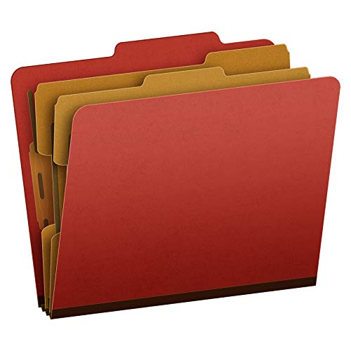 Pendaflex Pressboard Classification File Folder with Fasteners, 2 Dividers, 2-Inch Expansion, Letter Size, Brick Red, 10 per Box (1257R)