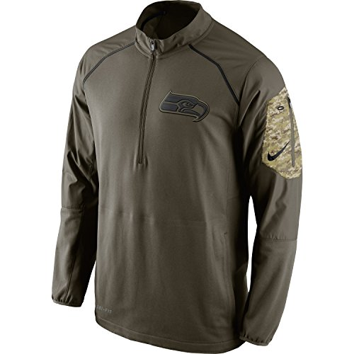 Seattle Seahawks 2015 NFL Salute to Service Men's Nike Hybrid 1/4 Zip Pullover Jacket (Large) by NIKE