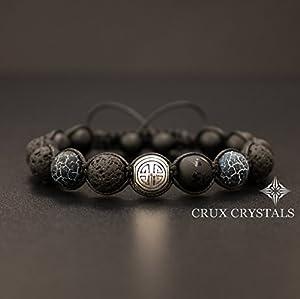 Shou/Long Life Lava Rock Black Onyx & Agate Mens Beaded Bracelet Gemstone Shamballa Wrap Tibetan Mantra Om Mani Padme Hum Longevity Bracelet Gift for Him Crux Crystals