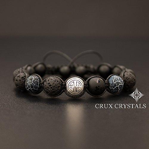 Shou/Long Life Lava Rock Black Onyx & Agate - Shamballa Wrap Bracelet
