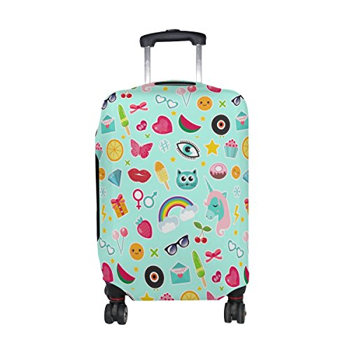 Cooper girl Fashion Comic Unicorn Rainbow Emoji Travel Luggage Cover Suitcase Protector Fits 31-32 Inch