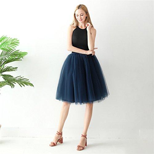 Marin Ligne Tulle Party Jupon Mi 60 De Balle Demoiselles Robe Femmes de Dress Tutu A Fte CM Vintage Mollet Bleu Bal ShowYeu Yw1qSAxE1