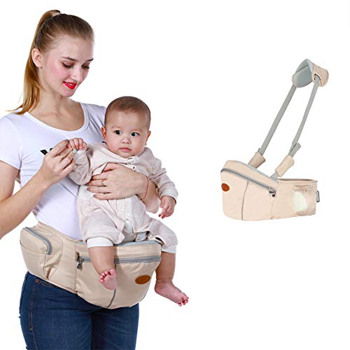 Baby Hip Seat Carrier Baby Waist Stool for Child Infant Toddler with Adjustable Strap Buckle Pocket Soft Inner Huge Storage (Khaki)