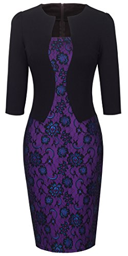 HOMEYEE Women's Vintage Colorblock Business Pencil Dress B237 (3XL, Black Purple) (Dress Black Purple)