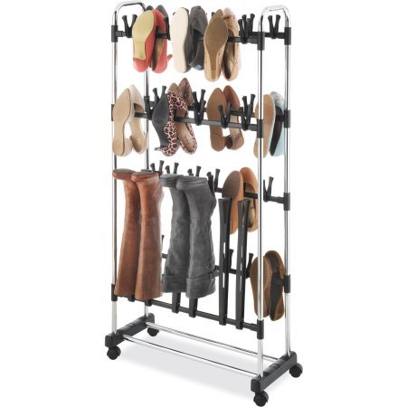 Whitmor Clip-On Shoe and Boot Rack, Black and Chrome