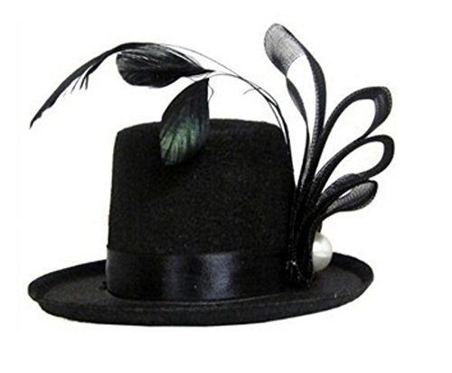 Topper Hats (Pearl and Feather Black Mini Top Hat)