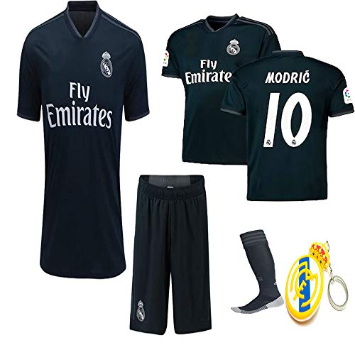 Real Benzema Madrid (Real Madrid 2018 19 Replica Kid Jersey Modric, Arsenio, ISCO, Marcelo, Bale, Benzema Away Black Jersey Kit : Shirt, Short, Socks, Bag, PVC Key(#10 Modric, Size 28 (11-12 Yrs Old Approx.)))