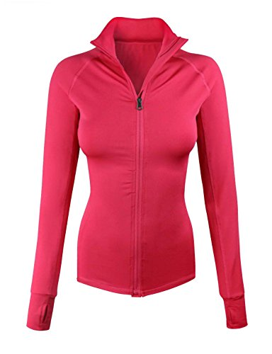 makeitmint Women's Comfy Zip Up Stretchy Work Out Track Jacket w/ Back Pocket SMALL YJZ0002_02HOTPINK