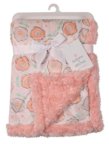 Buttons & Stitches Girls Printed Mink Blanket with Rosette Mink Backing, Pink