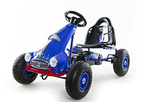 Ride On Pedal Car Go Kart Racing Pneumatic Tire Blue