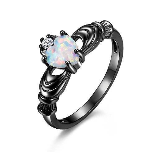 BEMI Silver Claddagh Friendship Love Celtic Crown Heart Opal Ring Promise Engagement Rings for Women Man (Crown Claddagh Ring)