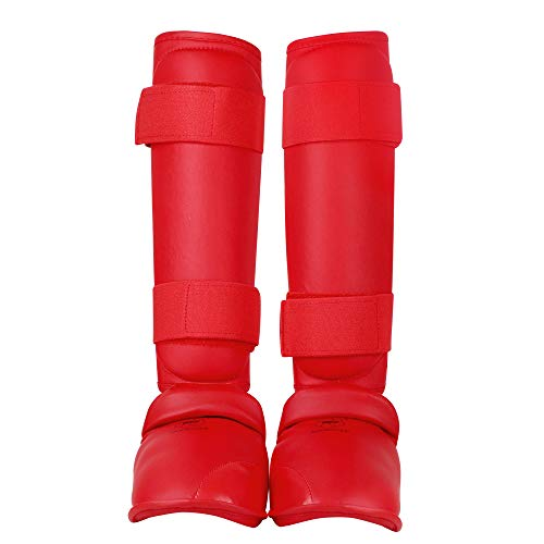 wesing PU leather fabrics karate shin and instep guard karate shin protector approved by wkf (RED, Small)