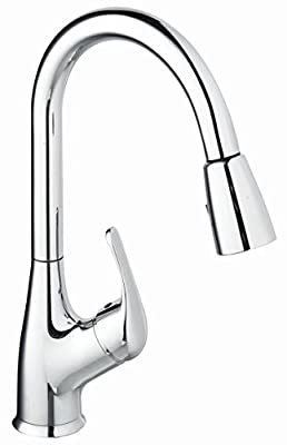 Purelux Tulip Single Handle Contemporary Design Arc Pull Down Kitchen Sink Faucet With Deck Plate, 3 Spray Pull Out cUPC NSF AB 1953 Lead Free Certified