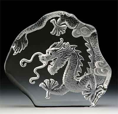 VG Engraved Lead Crystal - Eastern Dragon