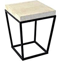 East at Main Cleveland Capiz Circa End Table with Black Iron Base-White, (18x18x24)