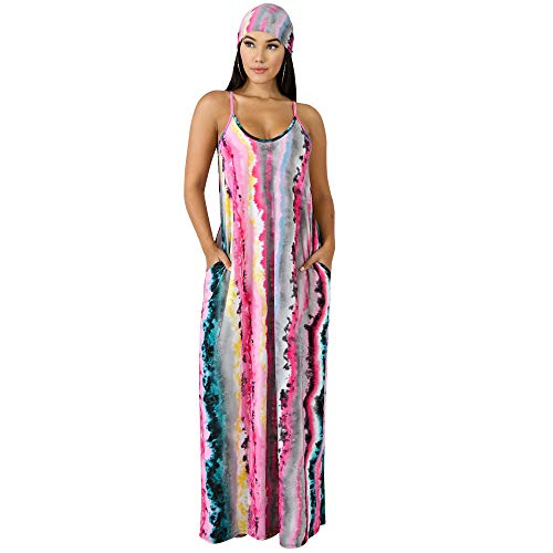 Womens Summer Street Fashion Spaghetti Straps Sleeveless V-Neck Backless Stripes Belted OL Loose Draped Pockets Party Club Boho Maxi Sheer Big Swing Long Dress Pink L