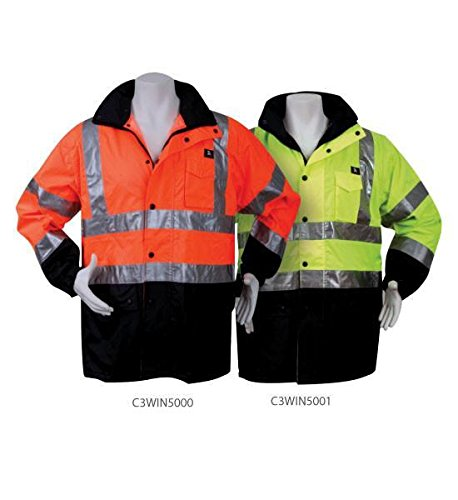 (3A Safety Hi-Viz Waterproof Rain Jacket - 6XL - Lime )