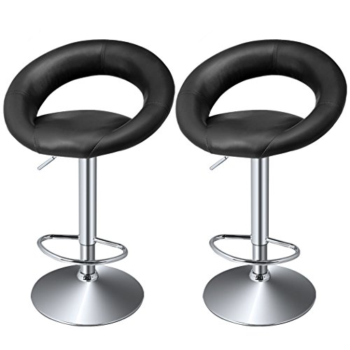HOMDOX Bar Chairs, Fashion Leather Hydraulic Adjustable Swivel Bar Stool Dining Chair-Pack of 2 (Black)