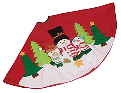 Snowman Family Tree Skirt by Clever Creations   Red, White, and Green   Christmas Tree & Snow Design   Traditional Theme   Helps Contain Needle and Sap Mess on Floor   40