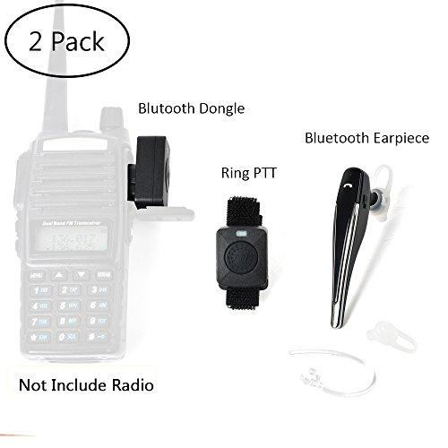 TWAYRDIO 2 Pin Wireless Two Way Radio Earpiece Bluetooth Walkie Talkie Headset with PTT for Kenwood/Baofeng BF-888s/Puxing Wouxun(2 Pack) by TWAYRDIO